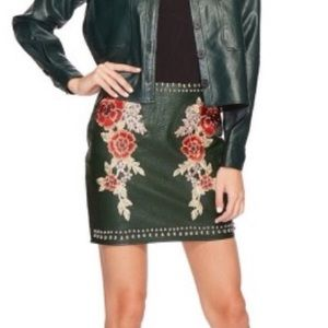 Romeo & Juliet Couture Skirts - Romeo + Juliet | Embroidered Vegan Leather Skirt